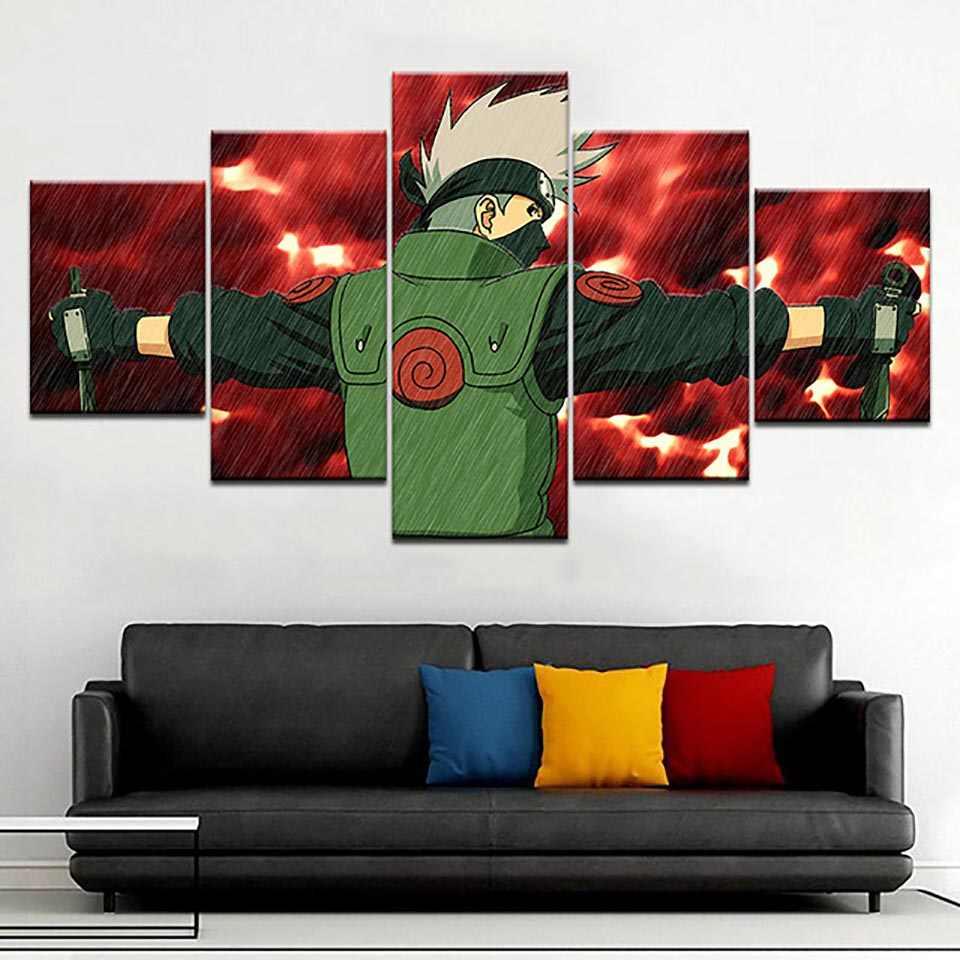 Mô đun Nghệ thuật treo Tường Vải Bố 5 Miếng Hoạt Hình Naruto HD In Hình Ảnh Tranh Trang Trí Nhà Áp Phích Cho Phòng Khách Khuôn Khổ