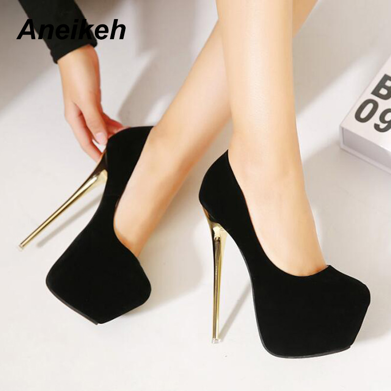 Aneikeh Big <font><b>Size</b></font> 41 42 43 44 45 Sexy Pumps Wedding Women Fetish Shoes High <font><b>Heel</b></font> Stripper Flock Pumps 16 cm Zapatos Mujer image