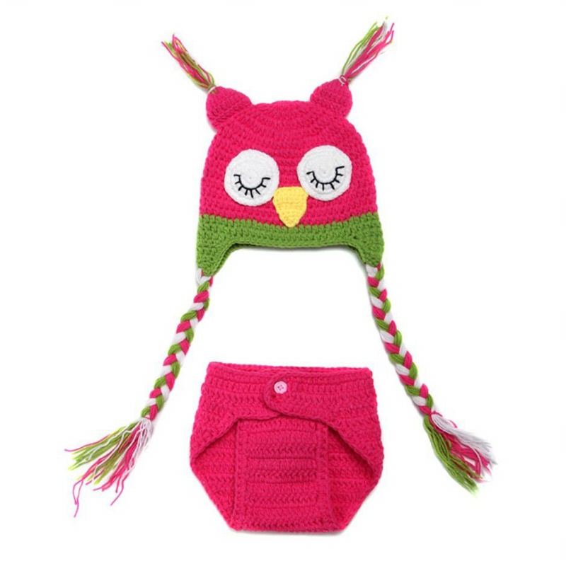 Hot Sale Sweet Owl Baby Girl photoshoot Knit Crochet Costume Beanie + Pants