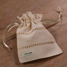 B009 :  Beige Ecru ramie/cotton drawstring hand embroidery gift bags, 6×8 inches sachet bags, travel pouch, linen bag