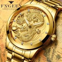 FNGEEN Casual Relógios de Quartzo Dos Homens Top Marca de Luxo Mens Relógios de Ouro de Aço Inoxidável relógio de Pulso À Prova D' Água Relogio masculino