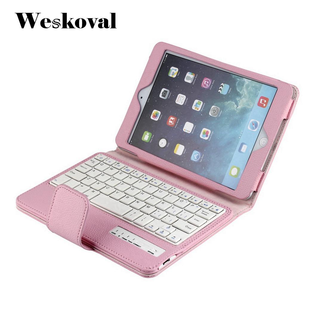 For iPad Mini 1 2 3 Wireless Bluetooth Keyboard Case For iPad Mini 1/2/3 Tablet Flip Leather Stand Cover Capa Fundas+Stylus