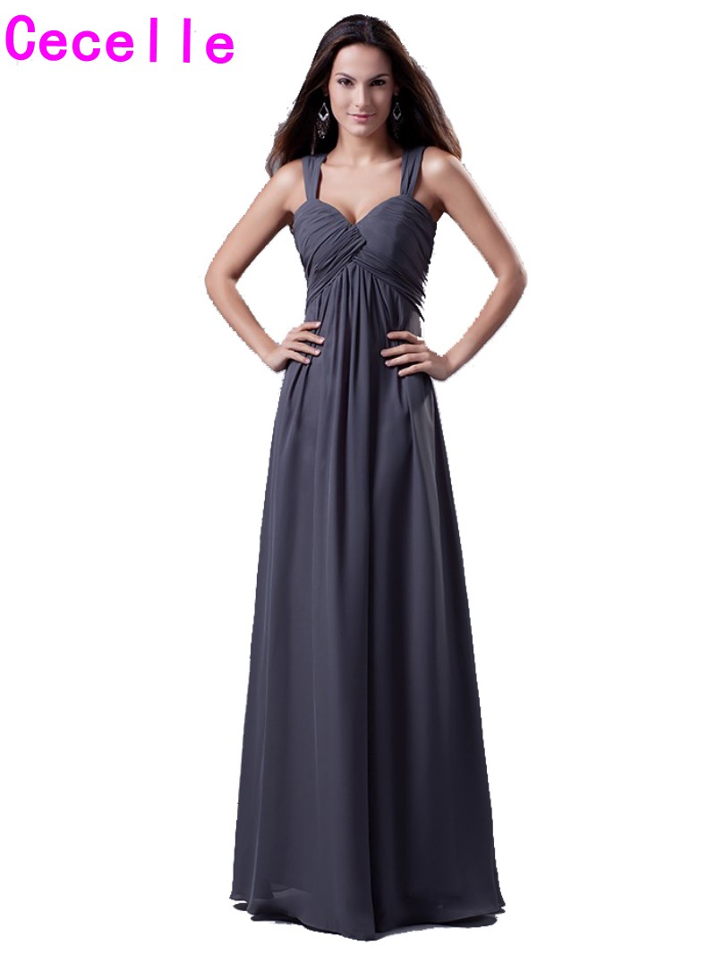 Online get cheap grey bridesmaid dresses aliexpress alibaba 2017 real sexy grey bridesmaids dresses long with straps pleats chiffon open back floor length women ombrellifo Images