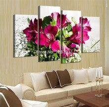 4 panels Moderne Printed Blumen Dekoration Malerei auf Leinwand Modulare Wandkunst Bild Home Decor Für Wohnzimmer Unframed