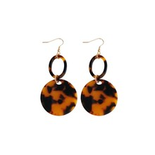 Exaggerated temperament Atmospheric fashion acetate circle Geometric  earrings long female