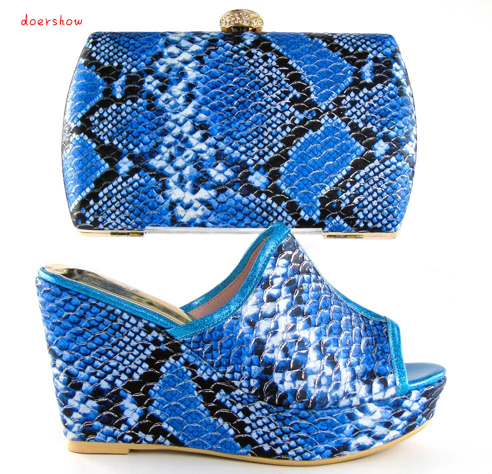 doershow Royalblue Top Quality African High Heel Shoes And Bag For Wedding Fashionable Italian Matching Shoe And Bag Set HHY1-16 doershow african shoes and bags fashion italian matching shoes and bag set nigerian high heels for wedding dress puw1 19