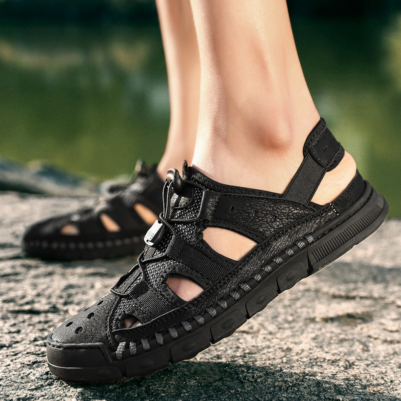 Big Size Leather Summer Sandals Beach men Comfortable Walking Footwear Shoes Breathable Outdoor Sandals(China)