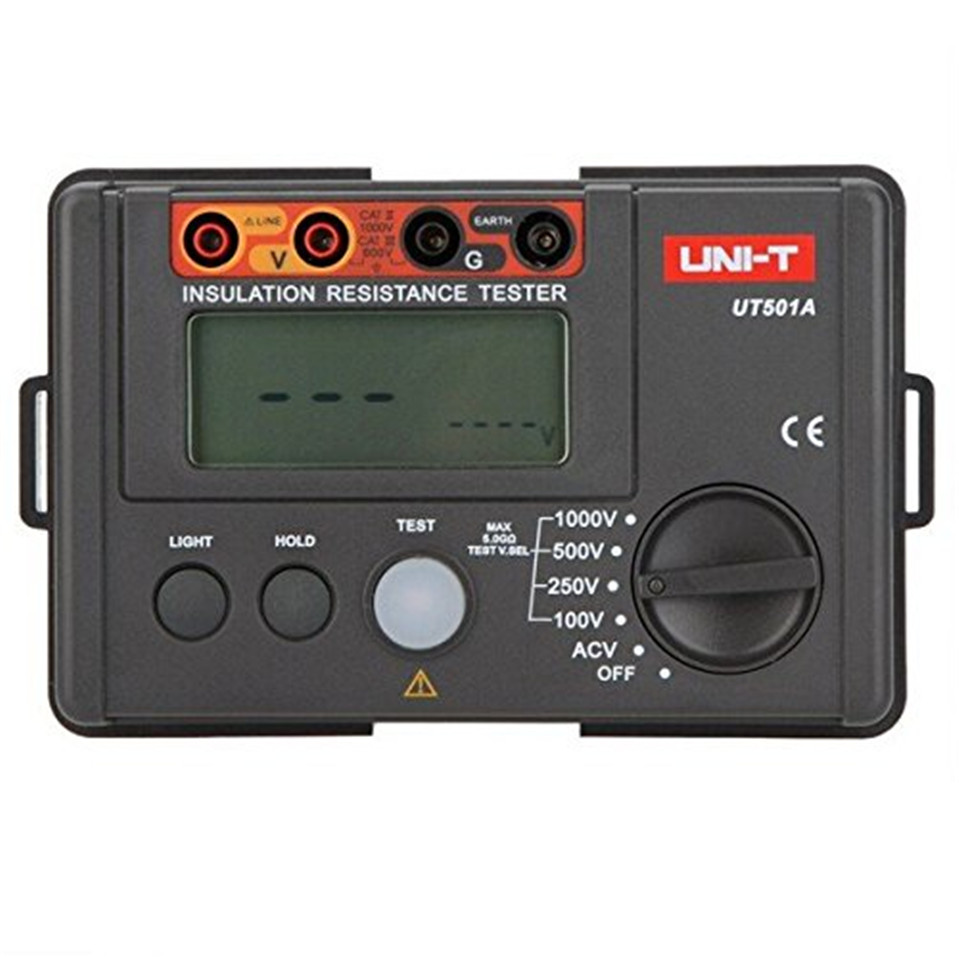 2017 Original UNI-T UT501A 1000V Insulation Resistance Meter Ground Tester Megohmmeter Voltmeter w/LCD Backlight Free Shipping
