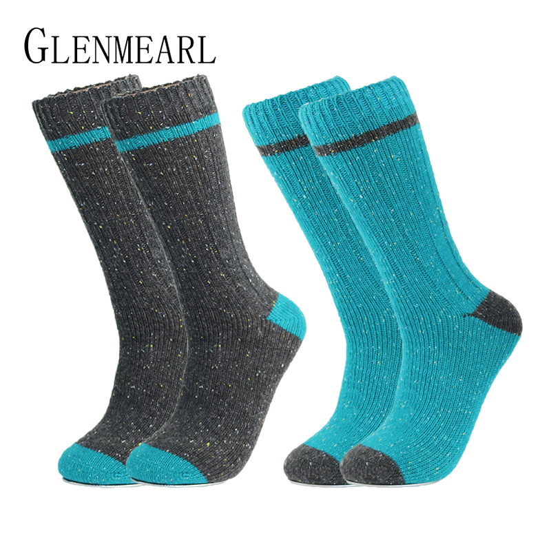 Merino Wool Men Socks Upscale Color Point Brand Fall Winter Warm Coolmax Compression Casual Soft Plus Size Male Boot Socks 2PK