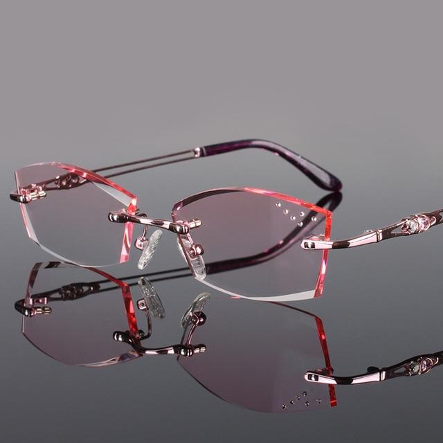 10451864290 Pure Titanium Fashionable Lady Eye Glasses Diamonds Rimless Spectacle Frames  Women