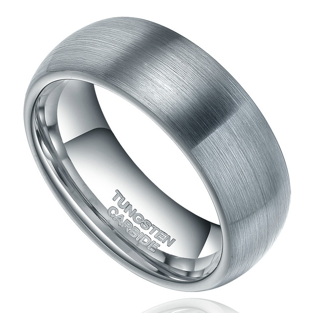 8mm Fashion Jewelry Silver Retro Tungsten Carbide Rings High Polish Brushed Dome Engagement Wedding Band cepillos pulir joyeria