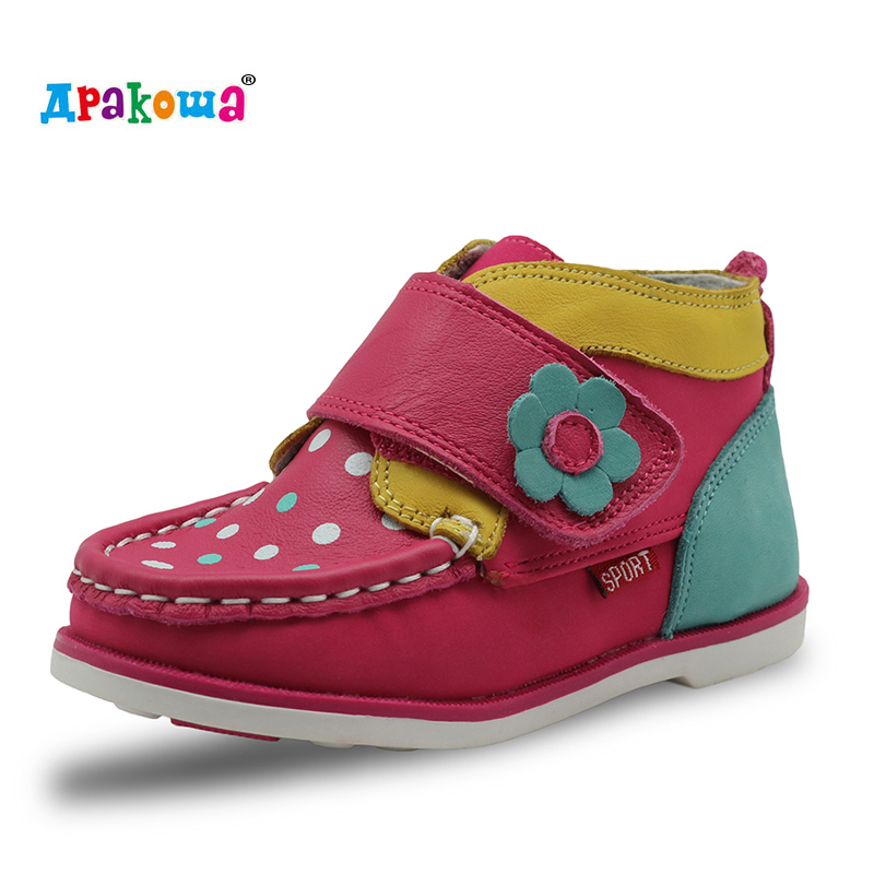 Apakowa New Toddler Girls Boots Ankle Genuine Leather Spring Autumn Children Shoes Short Plush Waterproof Kids Warm Boots Girls