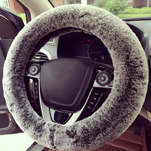 Faux Rabbit Fur Car Steering Wheel Cover Black With Grey Winter Essential Universal Furry Fluffy Thick
