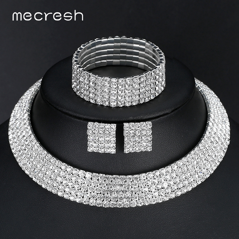 Mecresh Rhinestone Silver Color Classic Five Row Necklace Earrings Bracelets Bridal Wedding Jewelry Sets TL294+SL090