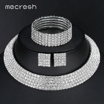Mecresh Rhinestone Cor Prata Clássico Cinco Row Colar Brincos Pulseiras Jóias Nupcial Do Casamento Define TL294 + SL090