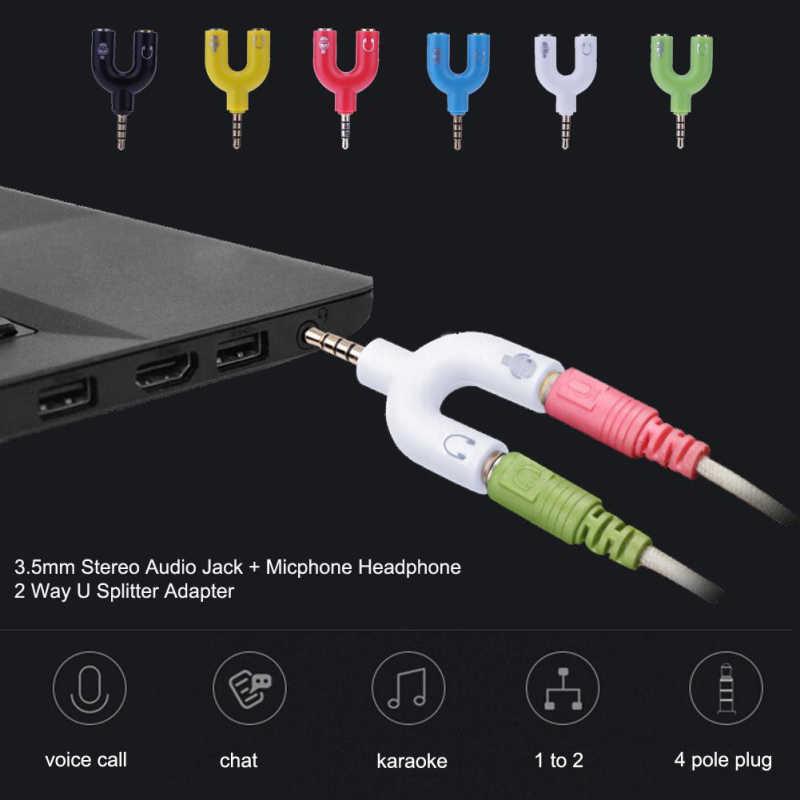 3,5 мм u-образный адаптер для наушников с двойным гнездом, разъем для стерео наушников, сплиттер для ПК/MP3 смартфонов, аудио кабели