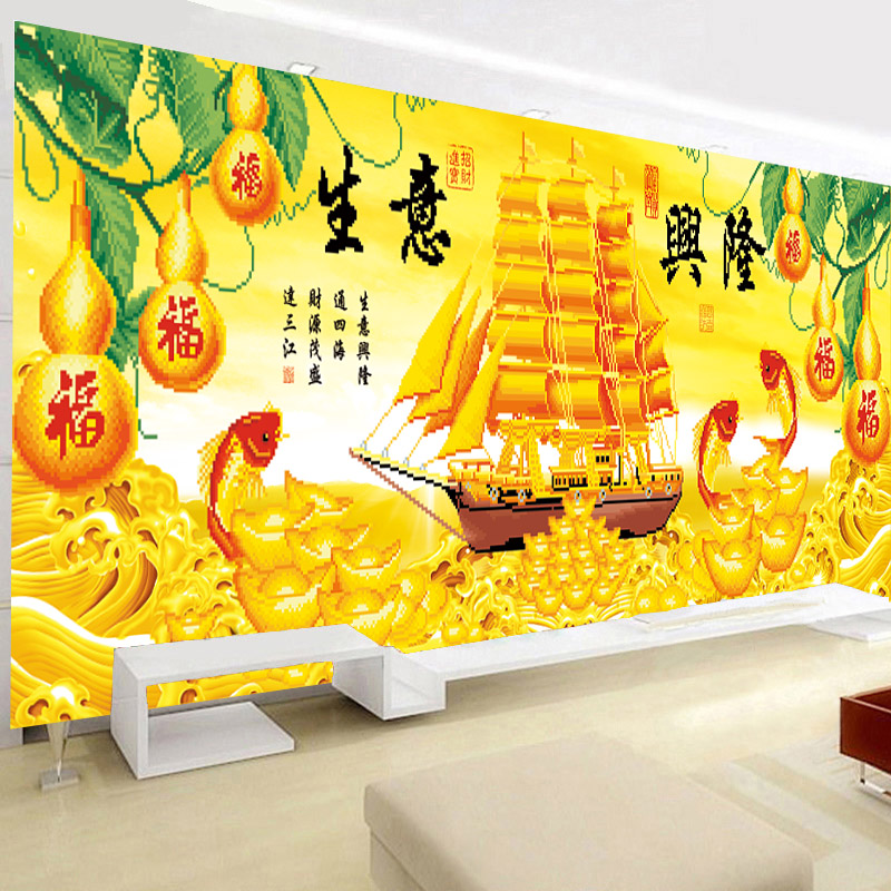 "Spécial diamant perceuse peintures mur art décoratif salon styles chinois ""Business is booming"" voile bateau diamant mosaïque-in Peinture point de croix diamant from Maison & Animalerie    3"