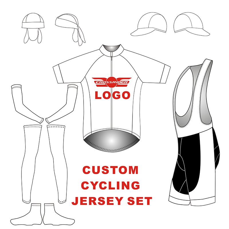 Crossrider Custom Cycling Jersey Sets Design Personal Logo Cycling Clothing Customized bike Cap/Armwarmers/Legwarmers/shoe Cover custom design blank spandex cotton flex fit baseball cap customized cap