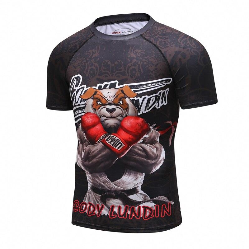 Men BJJ Jiu Jitsu Cro Compression Rashguard Bodybuilding Fitness O-Neck Short Sleeve   T  -  shirt   Men 3D Animal Print MMA   Shirt   Tops