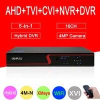 4mp CCTV Camera Red Panel Hi3521A XMeye 4M N 16CH 16 Channel 6 in 1 WIFI Coaxial Hybrid Onvif XVI NVR TVI AHD DVR Free Shipping