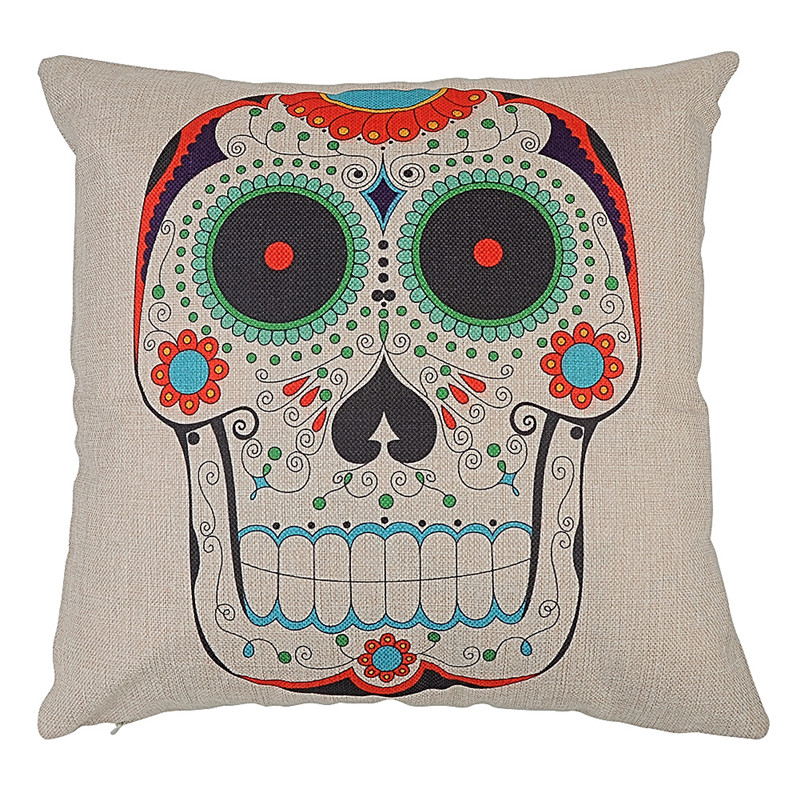 Skull Design Print Cushion Cover For Sofa Couch Bed Car Seat Cotton Linen Throw Pillow Case Pillowcases funda cojines home decor