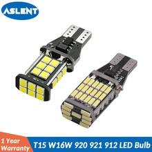 цена на ASLENT 2Pcs T15 W16W 920 921 912 LED Reverse Light Bulbs Canbus 4014 45SMD Highlight LED Backup Parking Light Lamp Bulbs DC12V