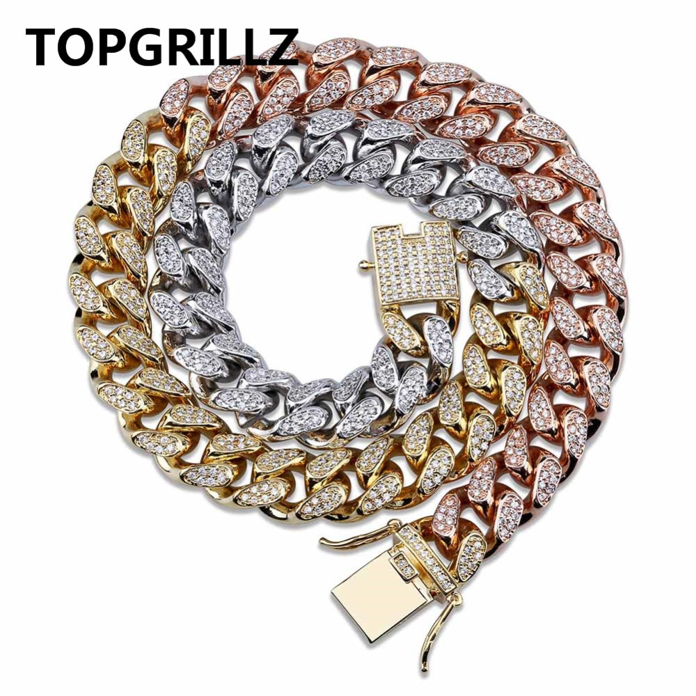 TOPGRILLZ Hip Hop Men's Maimi Cuban Link Chain Necklace Silver Gold Color Iced Out Cubic Zircon Bling Jewelry Necklaces Gifts