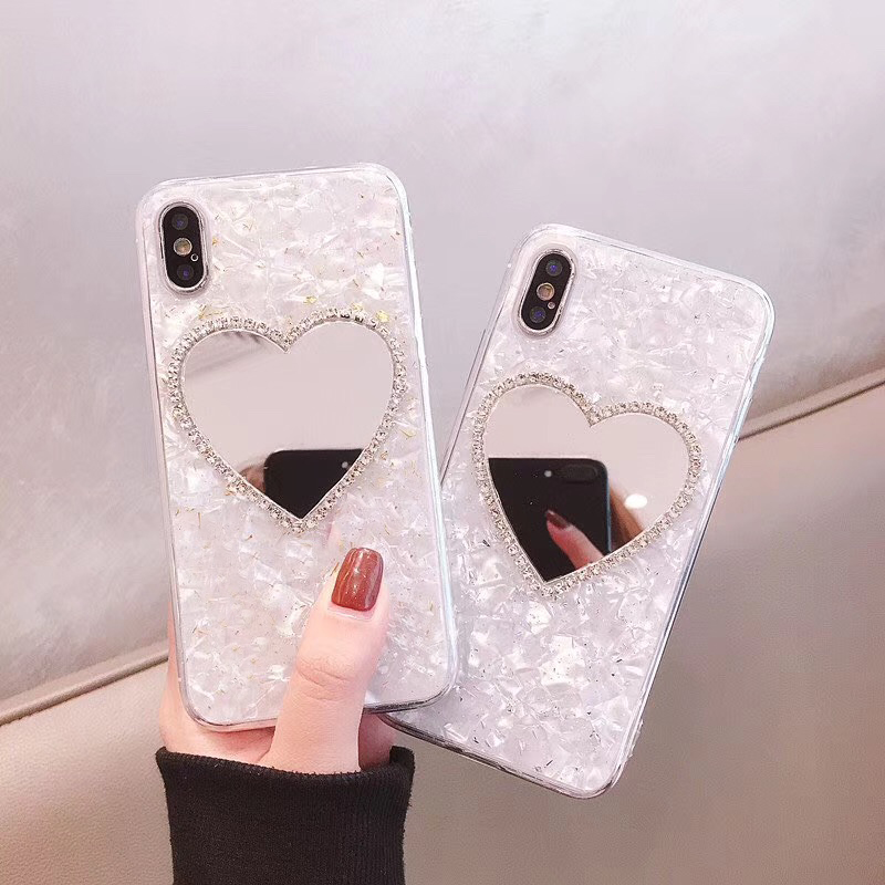 Luxury Diamond Marble Love Makeup Mirror Phone Case For Iphone 6 S 7 8 Plus X XR XS MAX For Samsung Galaxy S8 S9 Note 8 9 S10 E