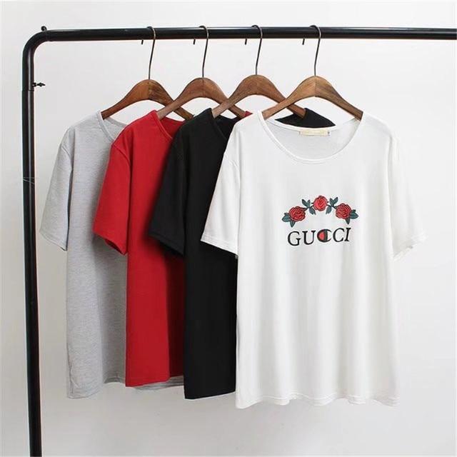 Hot Sales 2017 Women Long T Shirt Fashion Tee Rose Printed Short