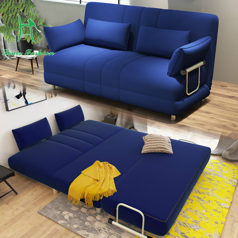 Louis moderno de moda de gran tamaño apartamento sofá cama plegable 1,5 metros 1,2 simple tela doble tatami tumbona