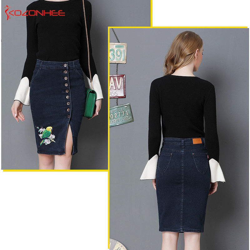a6c65a12ab6 S 6XL Plus Size Stretch Embroidery Denim Pencil Skirts With High Waist  Elasticity Women Pencil Skirt Knee Length Female  31-in Skirts from Women s  Clothing ...