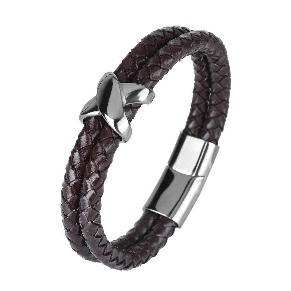 Kirykle style minimaliste croix acier inoxydable Bracelets bijoux religieux aimant fermoir multicouche tressé bracelet en cuir 5