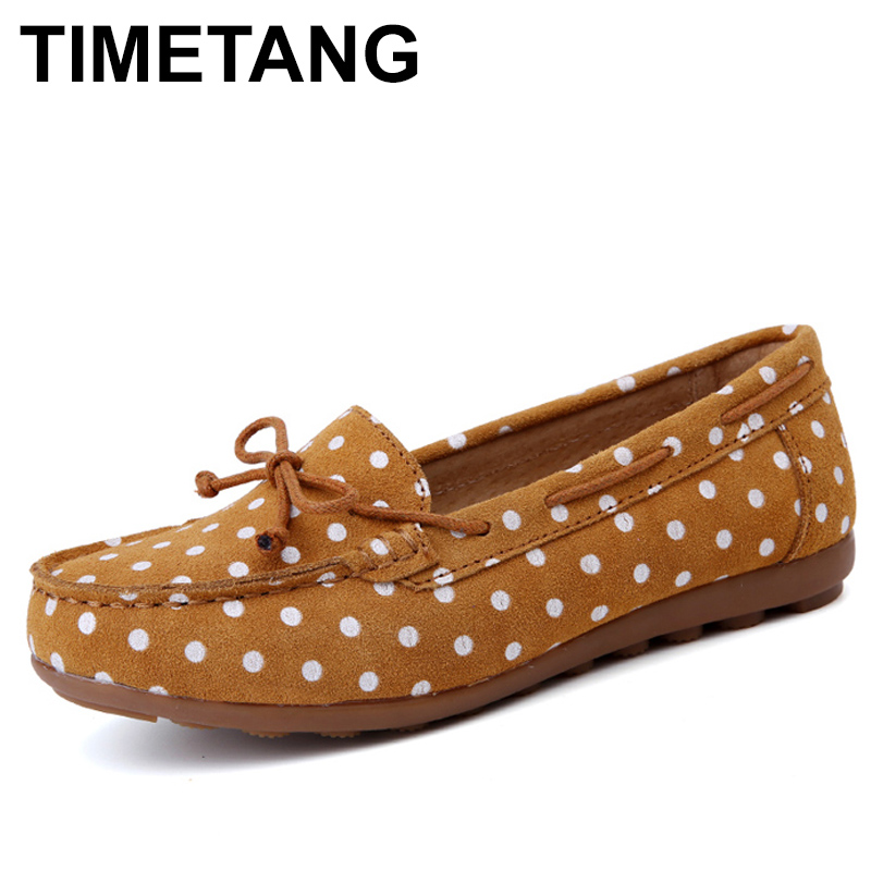 TIMETANG Spring women ballet basic flats shoes women slip on point style flats female   leather     suede   loafers moccasins shoesC304