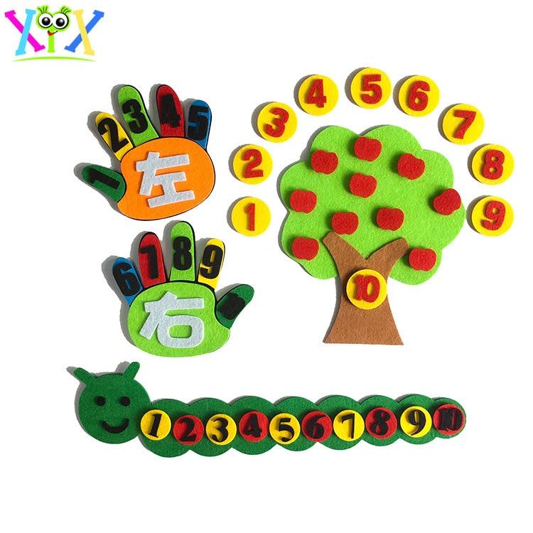 3pcs/set Toys For Children Kindergarten Educational Toys DIY Felt Non-woven Fabric Crafts Kids Montessori Teaching Aids Math Toy