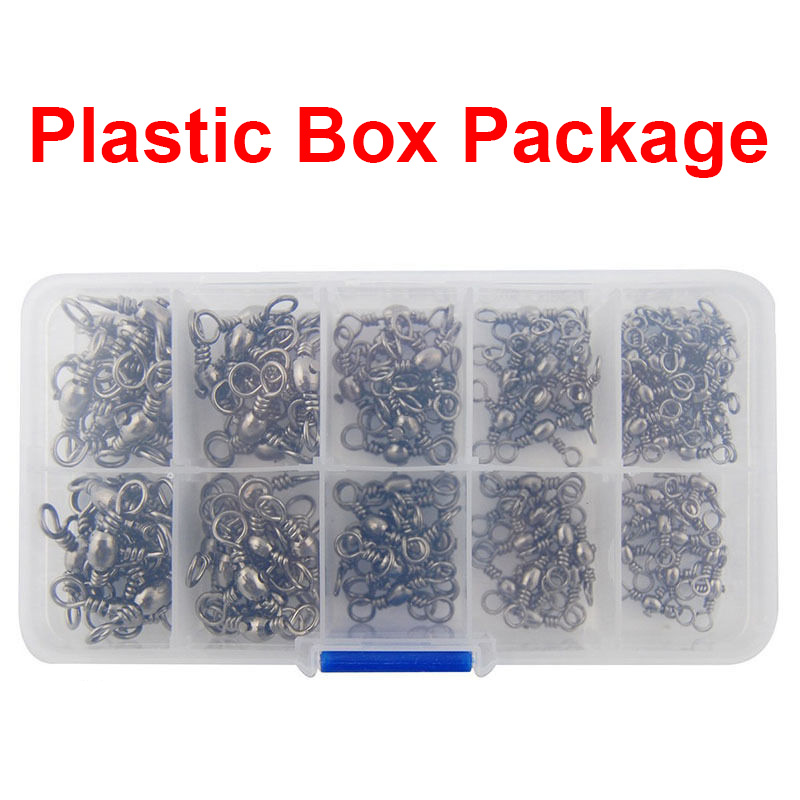 120pcs 3 Way Barrel Cross Line Fishing Swivel With Solid Ring Barrel Cross Line Swivels Hard Lure Connector Set With Box