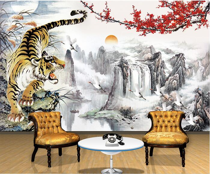Aliexpress com buy 3d room wallpaper custom mural non woven wall sticker plum blossom tiger landscape painting photo 3d wall mural wallpaper from reliable