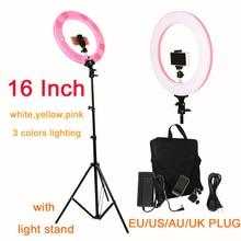 การถ่ายภาพ 16 นิ้ว 60 W 448 PCS LED โคมไฟตั้งโต๊ะ 3 สีสำหรับ Photo Studio Light โทรศัพท์ Clamp