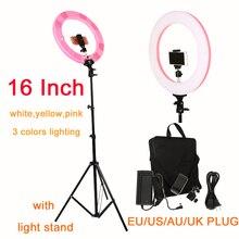 צילום 16 אינץ טבעת אור 60W 448PCS LED Stepless מותאם 3 צבעים תאורה לצילום סטודיו עם אור stand טלפון מהדק