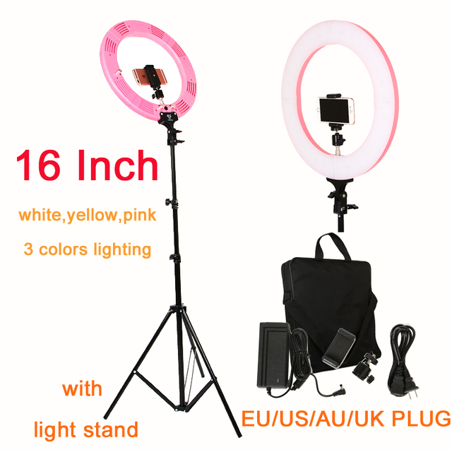 Photographie 16 pouces lumière annulaire 60W 448 pièces LED réglable en continu 3 couleurs éclairage pour Studio Photo avec support de lumière pince de téléphone