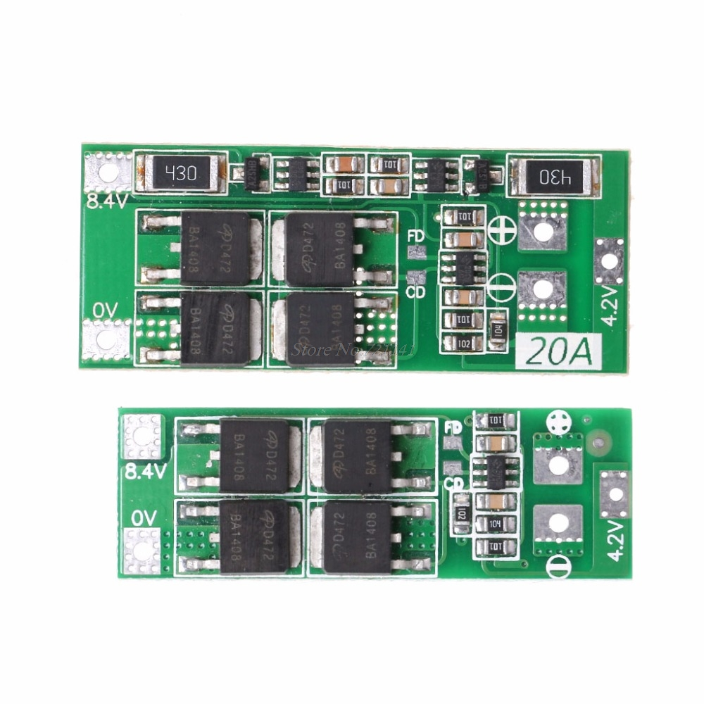 2S 20A 7.4V 8.4V Li-ion Lithium Battery 18650 Charger PCB BMS Protection Board Voltage Regulator
