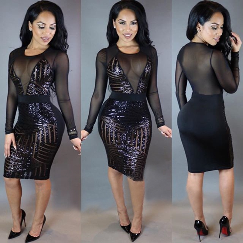 Women Long Sleeve Black Sequin Glitter Dresses Sexy mesh patchwork Club party night Dress Shining Bodycon Sheath Vintage