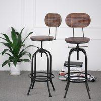 IKayaa промышленных стильный барный стул регулируемый по высоте вращающийся кухня обеденный стул Pinewood топ + металл со спинкой барные стулья