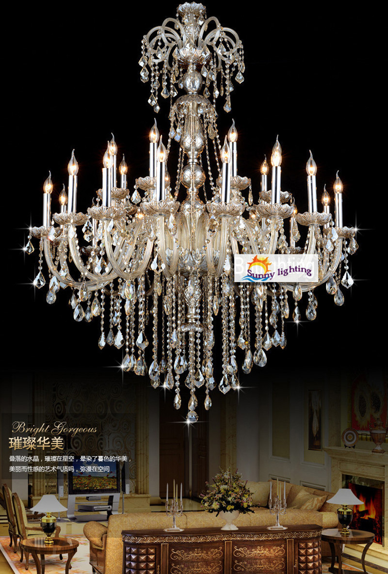 Extra Large Retro Cognac Crystal Light Chandeliers For Star Hotel Living Room High Ceiling Vintage Traditional Chandelier Lustre In From Lights