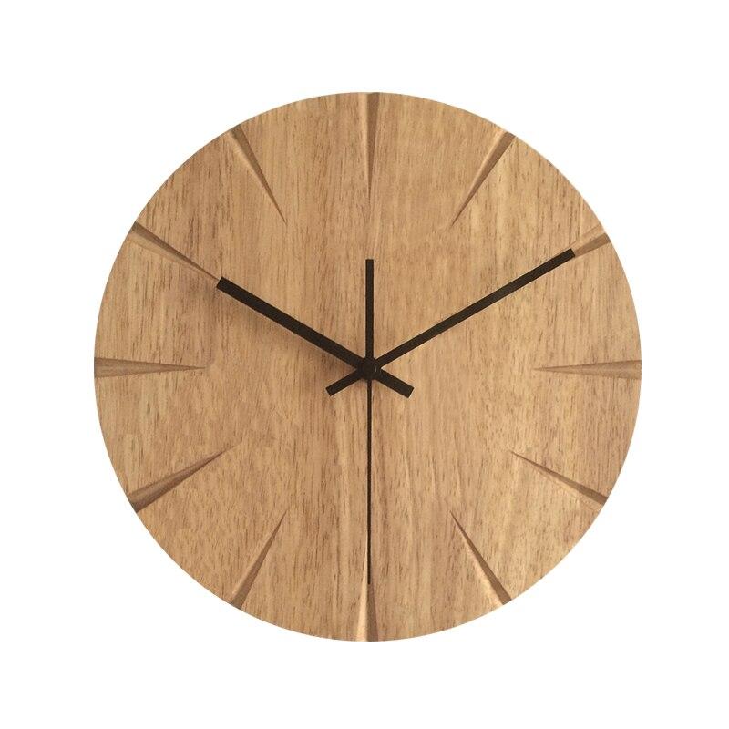 Ev ve Bahçe'ten Duvar Saatleri'de 12 inç Sessiz Ahşap duvar saati Basit Modern Tasarım Ahşap Saatler Yatak Odası Ahşap Duvar Saati Ev Dekor'da  Grup 1