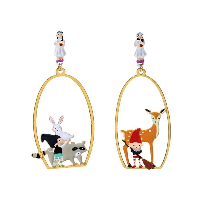 Csxjd Enamel Snow White Dwarf Wapiti Luxury Earring Women Earrings Jewlery 2018 New Fragrant Aroma