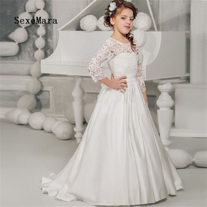 2019 Lace White A Line Flower Girl Dress for Wedding O Neck Lace Applique Girls Pageant Gowns First Communion Dress Custom Made цены