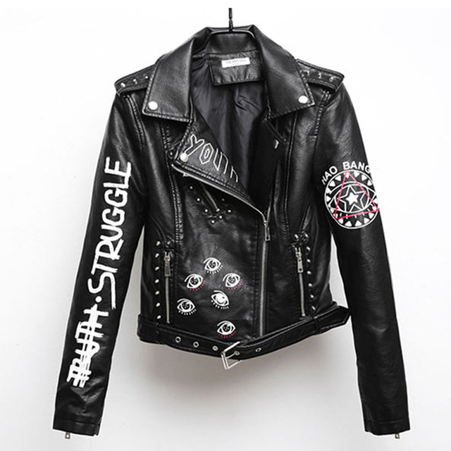 Women Printed Letters  Pu Leather Jacket biker Moto Black Faux Jacket  female pattern Black rivet Hip hop Short zipper Coat PY21