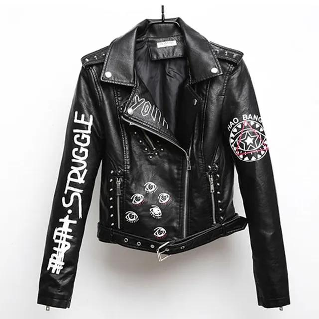 Women Printed Letters Pu Leather Jacket biker Moto Black Faux Jacket female pattern Black rivet Hip hop Short zipper Coat PY21