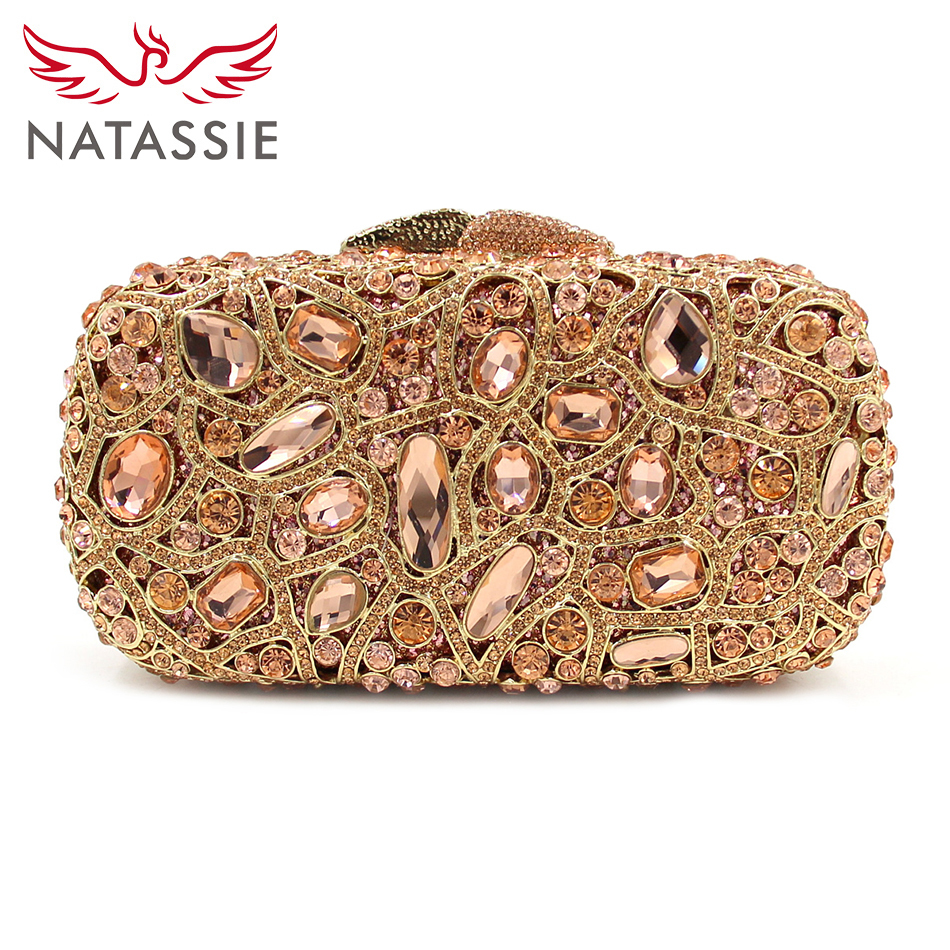 NATASSIE Gold Evening Bags Luxury Crystal Clutch Diamond Wedding Bag With Chain Women Party Purse Handbags Hollow Out Clutches