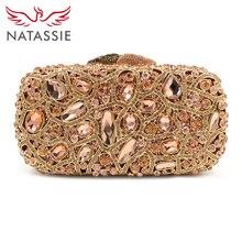 Natassie gold abendtaschen luxury kristall kupplung diamant hochzeit tasche mit kette frauen party geldbörse handtaschen aushöhlen kupplungen